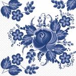 Салфетки 24х24 3-х слойные Марго цветы синие Гжель