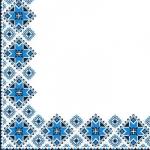Салфетки 24х24 3-х слойные Марго Вишиванка синий орнамент