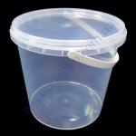 Ведро пластик 1л +крышка, с ручкой прозрачное