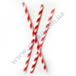 Трубочки Бумажные бело-красная спираль 19,5 см 25шт прямые