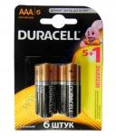 DURACELL Basic AAА батарейки алкалиновые 1.5V LR03 5шт+1 б/к Бел