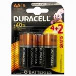 DURACELL Basic AA батарейки алкалиновые 1.5V LR6 4шт+2 б/к Бельг