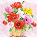 Салфетки 33х33 корзина цветов Марго 20шт