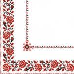 Салфетки 33х33 укр. орнамент (вишиванка Квіти червона) Марго 50ш