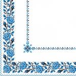 Салфетки 33х33 укр. орнамент (вишиванка синя) Марго 50шт