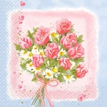 Салфетки 33х33 букет на розовом Марго 20 шт