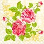 Салфетки 33х33 цветение  розы Марго 20шт