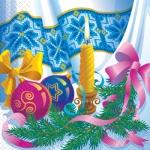 Салфетки 33х33 Новорічна свічка Марго 20шт