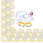 Салфетки 33х33 Лебеди Марго 20шт