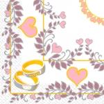 Салфетки 33х33 Обручальные кольца Марго 20шт