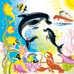 Салфетки 33х33 Дельфины Марго 20шт
