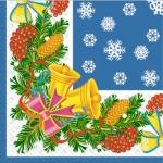 Салфетки 33х33 Звоночки синие Марго 20шт