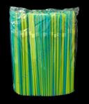 Трубочки желто-синяя полосатая с гофрой 21см 200шт