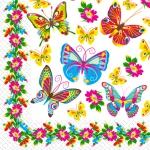 Салфетки 33х33 Цветные бабочки Марго 20шт