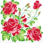 Салфетки 33х33 Красные розы Марго 20шт