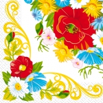 Салфетки 33х33 Цветочная рамочка Марго 20шт