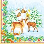 Салфетки 33х33 Зимние олени Марго 20шт