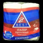 Туалетная бумага Z-ВЕST-30120 2сл. 4рул/150 целюл. белая Укр.