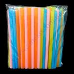Трубочки д/смузи коктейлей прямые разноцветные 19см d=10мм 100шт