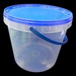 Ведро пластик 10л +крышка синяя, с ручкой прозрачное