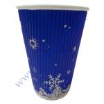 Стакан гофра (прямая) 330мл 20шт синий Снежинка (под кр79) (40