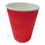 Стакан гофра (волна) 330мл 20шт красный (40уп/я) (под кр79)