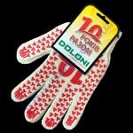 Перчатки 4490 белые Юбилейные(ладошка+красная точка)плотн.7класс