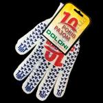 Перчатки 4491 белые Юбилейные(ладошка-синяя точка)плотн.10класс