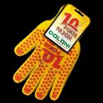 Перчатки 4492 желтые Юбилейные(ладошка-красн,черная точка)плотн.