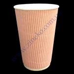 Стакан гофра (прямая) 330мл 20шт розовый (под кр79)