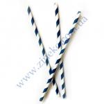 Трубочки Бумажные бело-синяя спираль 19,5 см 25шт прямые