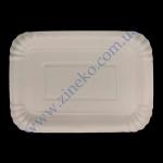 Тарелка бумажная 14х23см/h-2см белая ламин./крафт 50шт