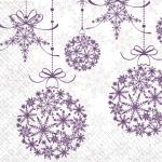 Салфетки 33х33 Святкові кульки фіолетові Марго 20шт