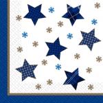 Салфетки 33х33 Зірочки сині Марго 20шт
