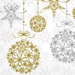 Салфетки 33х33 Святкові кульки Золото-срібні  Марго 20шт
