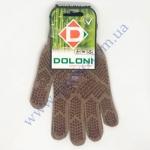 Перчатки 5702 10р. коричневые+бамбук.нитка(ладошка-точка) плотн.