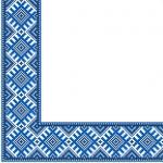 Салфетки 33х33 укр. орнамент (Етно вишиванка синя) Марго 50шт