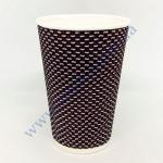 Стакан гофра (пряма) 250мл 20шт 3D коричневий, чорний (40уп/я) (