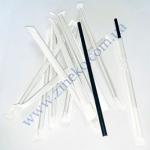 Трубочки бумажные (инд. бум. упак) Черные 19,7см 100шт прямые КN